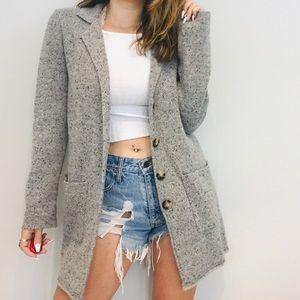 J. Crew Mercantile gray knit blazer pea coat